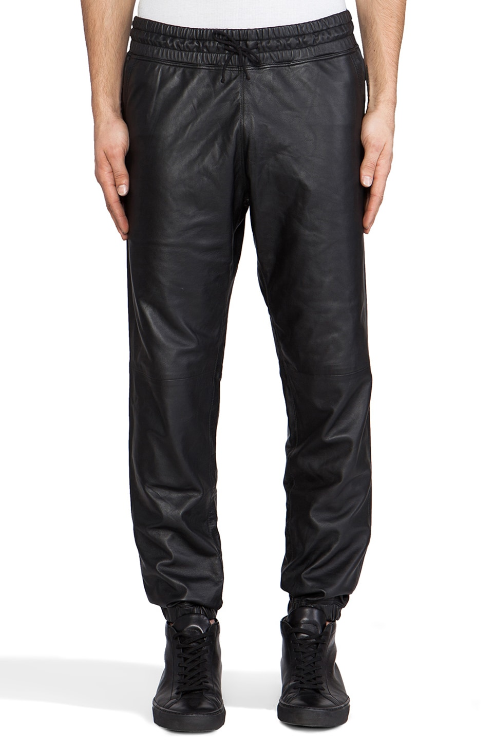lot78 Leather Sweatpant in Black