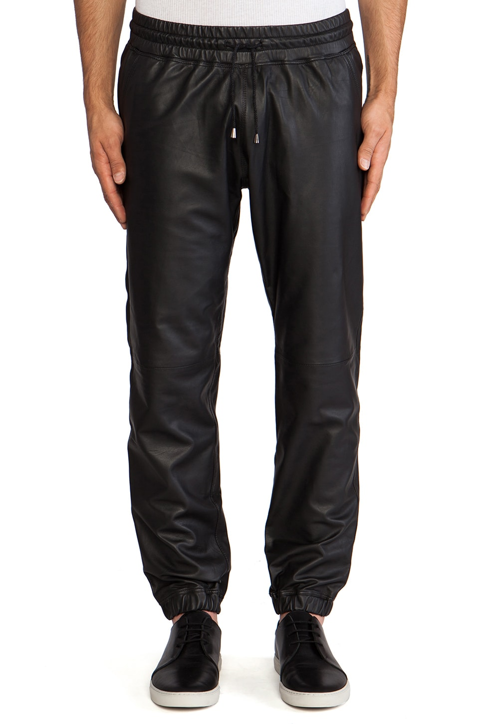lot78 Leather Cuff Pant in Black