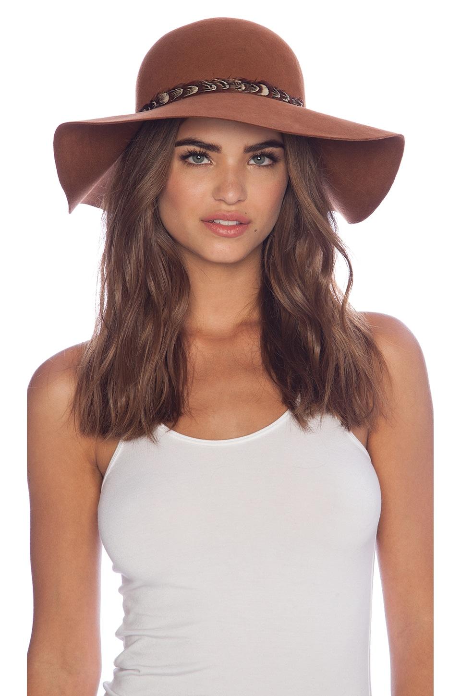 Lovely Bird Biarritz Feather Wrap Hat in Honey