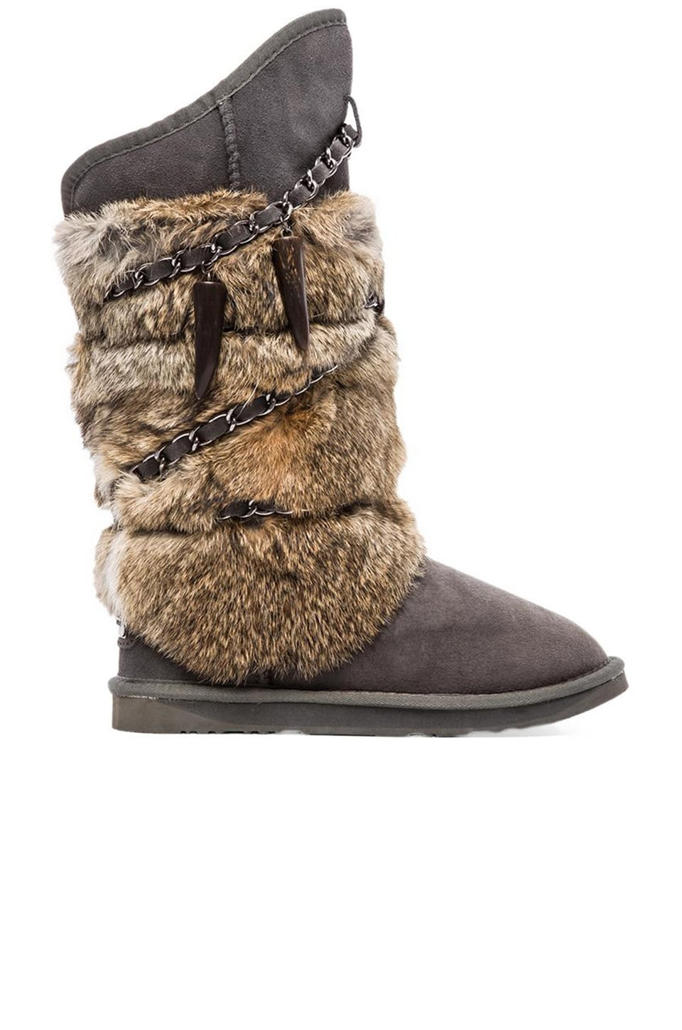 Australia Luxe Collective Rabbit Atilla Fur Boot in Grey