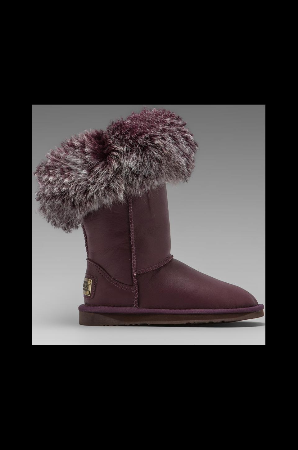 Australia Luxe Collective Foxy Short Boot with Raccoon Fur Trim in Plum