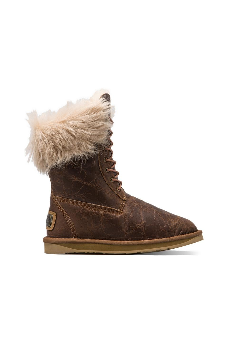 Australia Luxe Collective Montana Boot with Raccoon Fur Trim in Chestnut