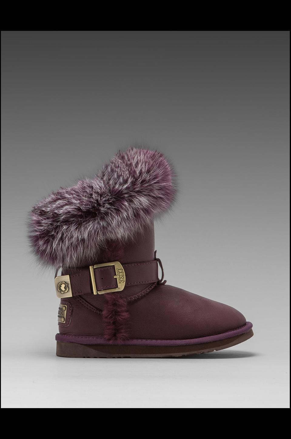 Australia Luxe Collective Tsar Short Boot with Raccoon Fur Trim in Plum