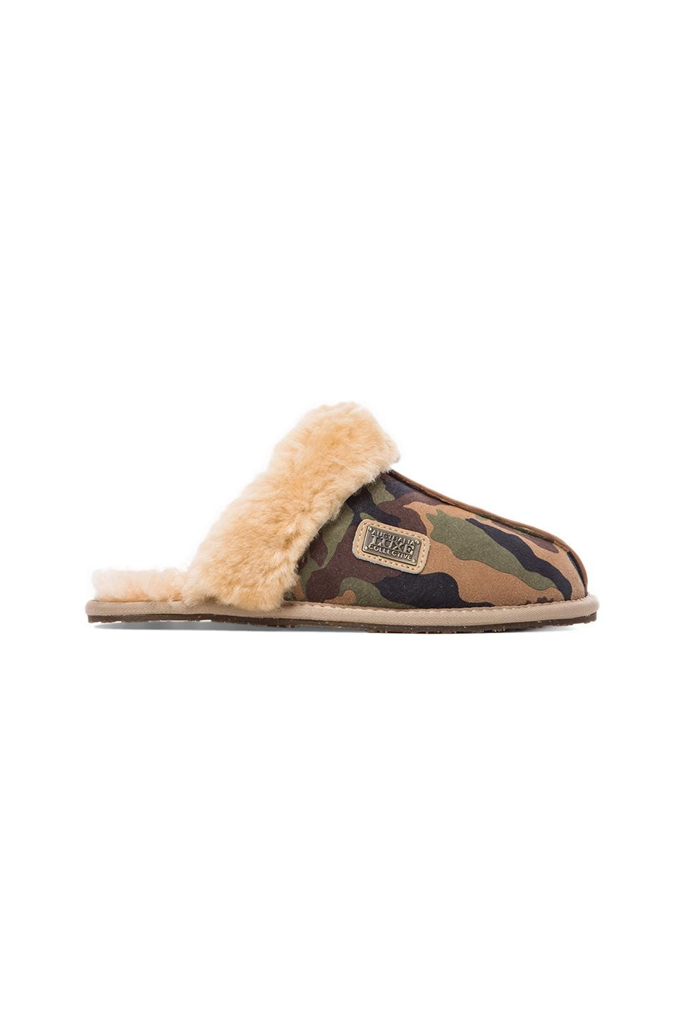 Australia Luxe Collective Closed Mule with Sheepskin in Camo