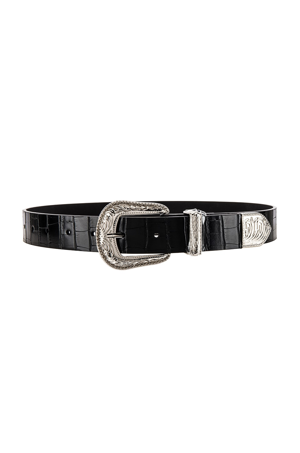 Lovers + Friends Venom Croco Belt in Black