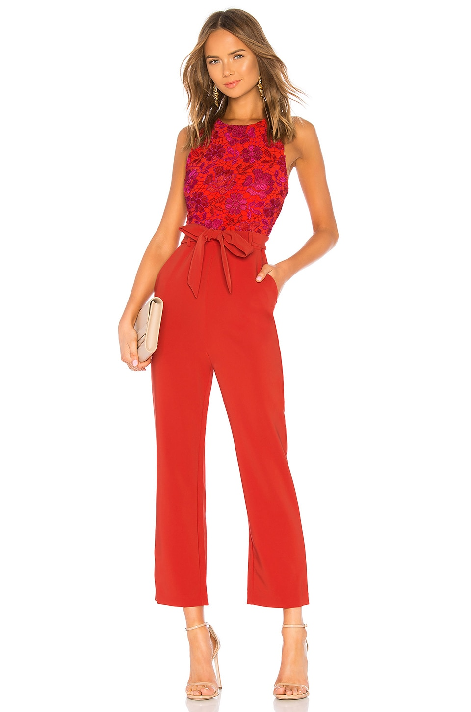Lovers + Friends Gardanome Jumpsuit in Magenta & Red