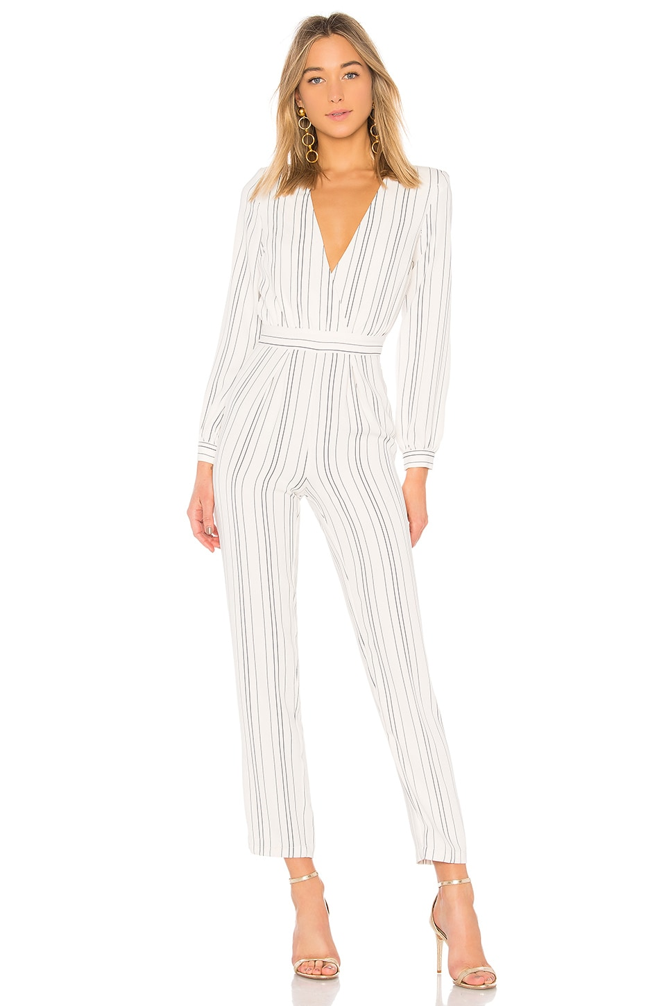 Lovers + Friends Study Abroad Jumpsuit in White Pinstripe