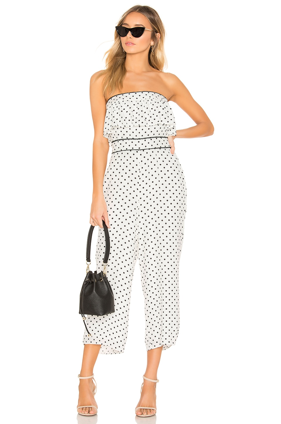 Lovers + Friends Carver Jumpsuit in Black & White