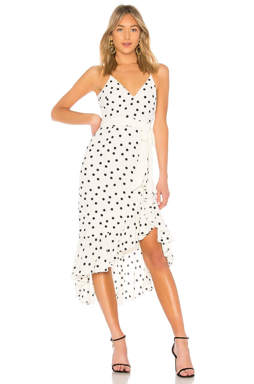 LOVERS+FRIENDS Bridget Dot-Print Flounce Midi Dress in White
