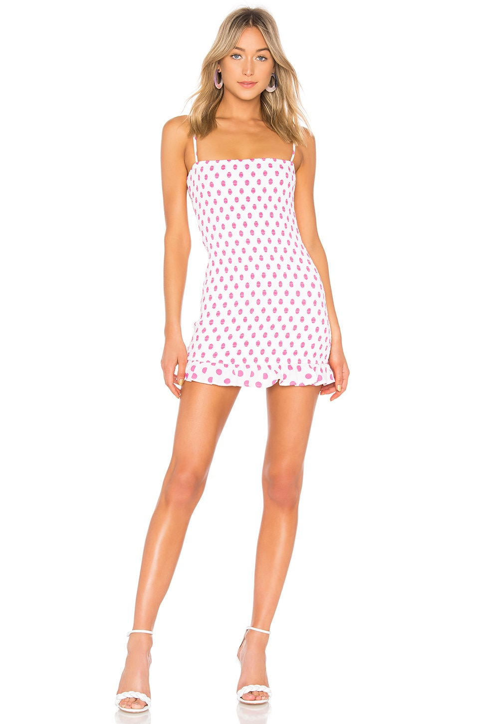Lovers + Friends Burson Dress in Hot Pink