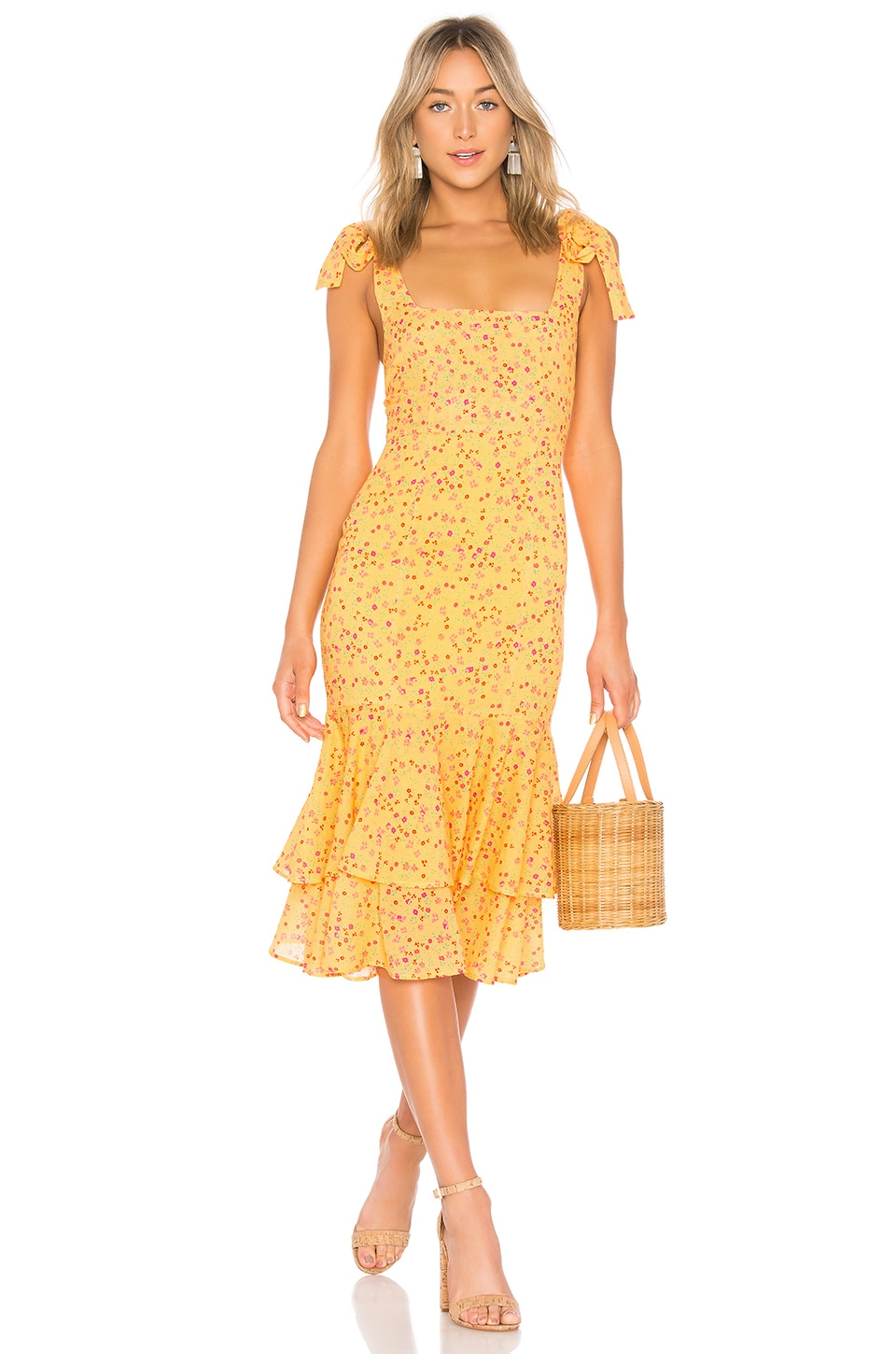 Lovers + Friends Day Keeper Midi Dress in Goldenrod Ditsy