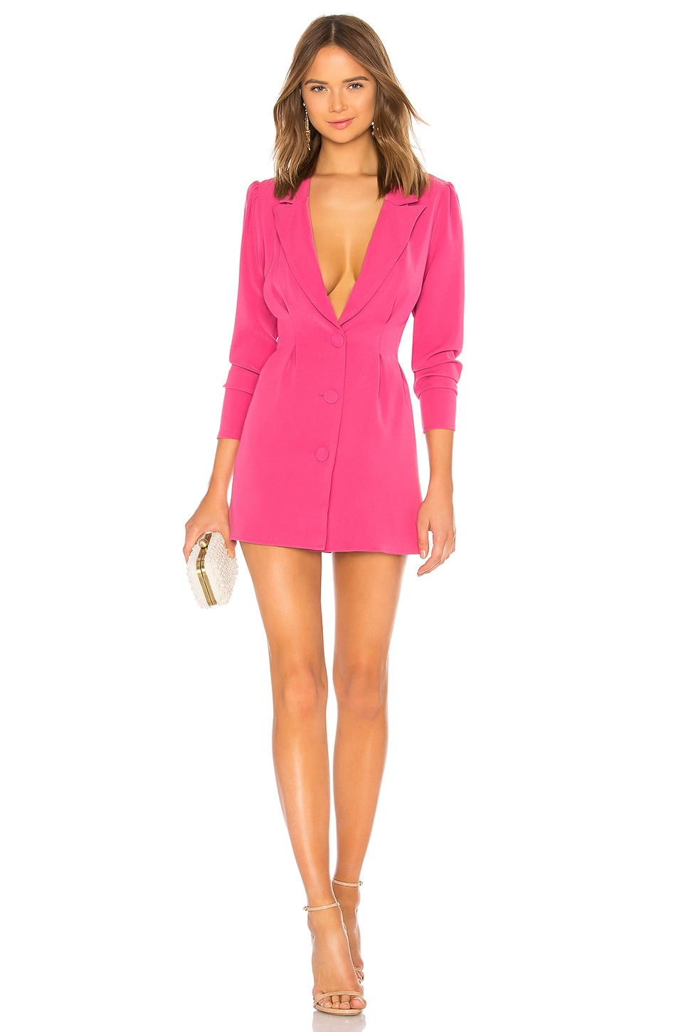 Lovers + Friends City Blazer Dress in Magenta Pink