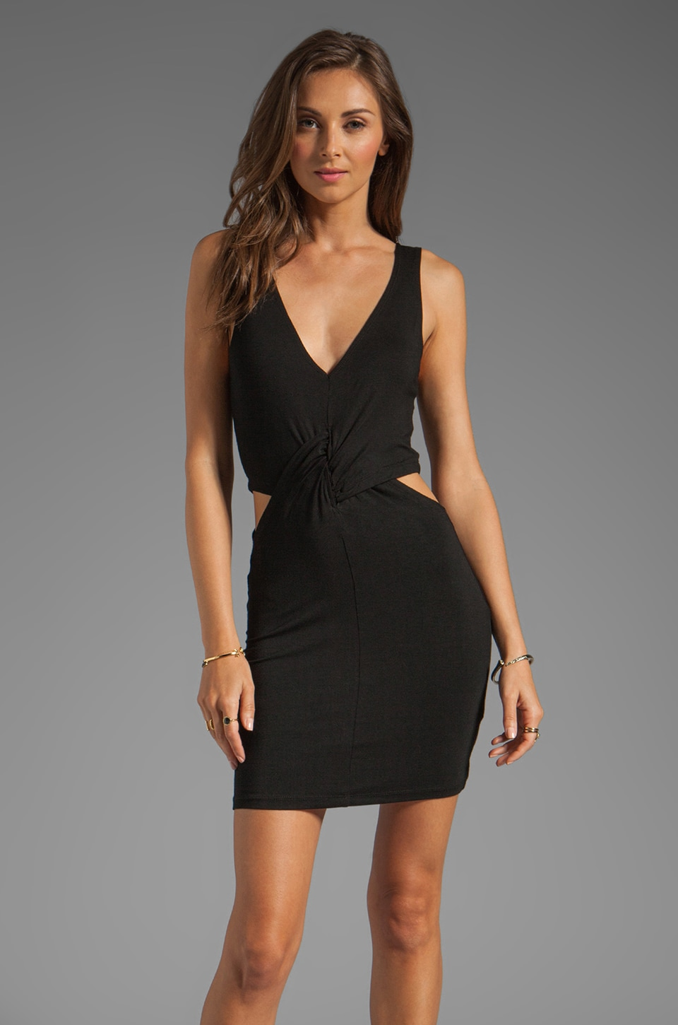 Lovers + Friends Hard Day's Night Dress with Side Cut Outs in Black