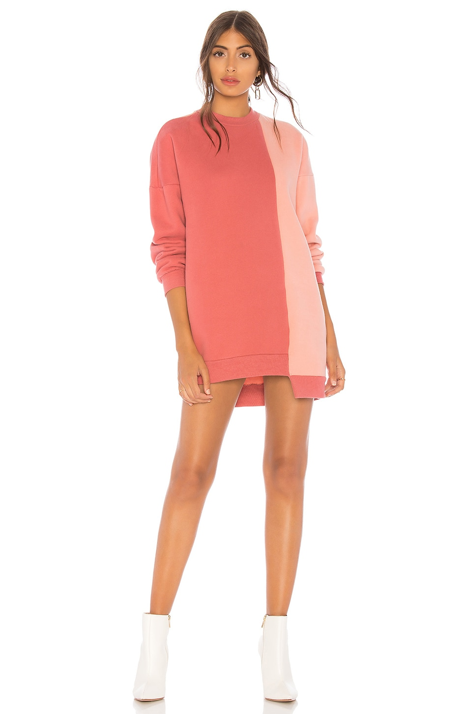 Lovers + Friends Gameday Sweatshirt Dress in Mixed Rose
