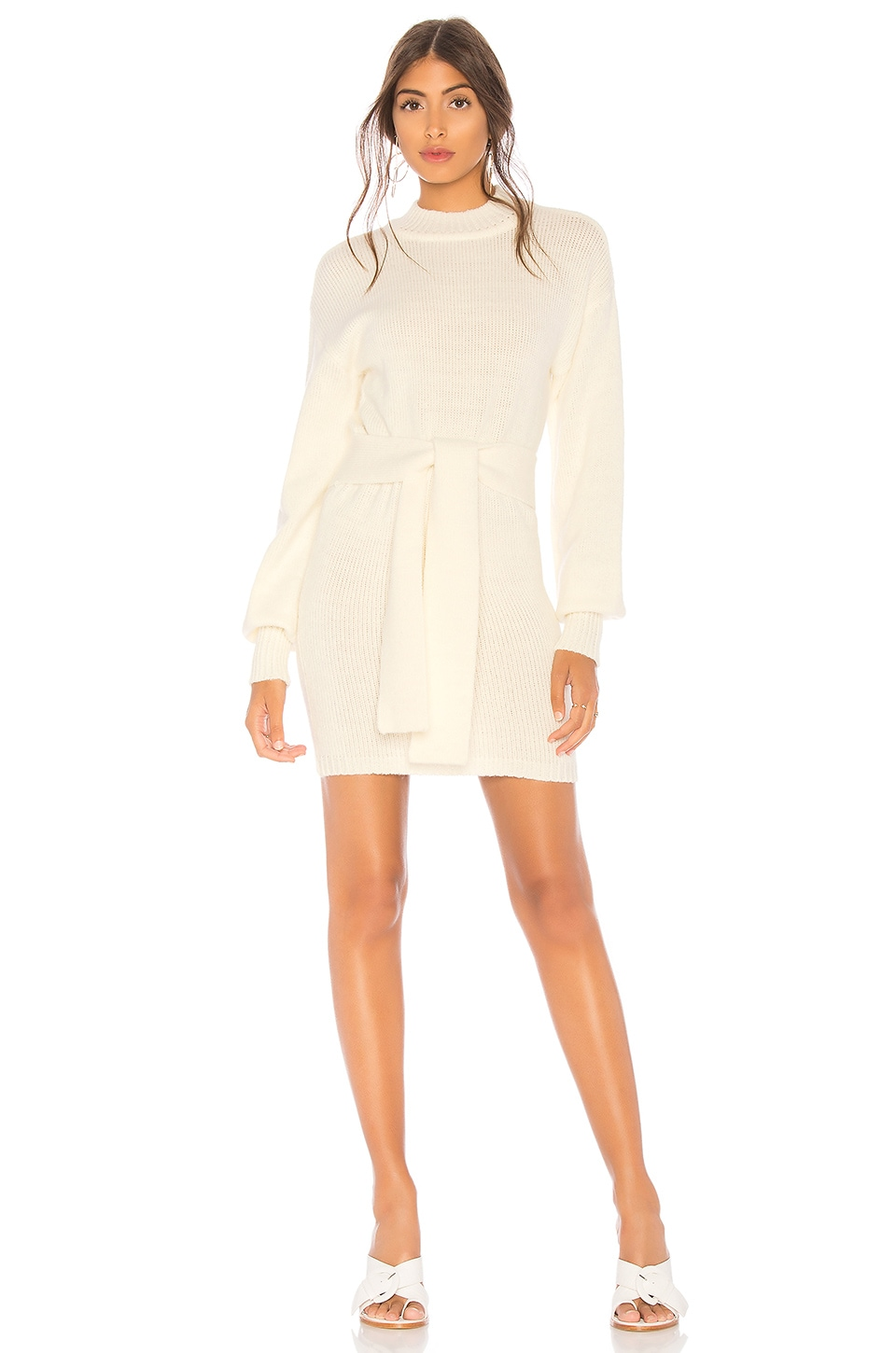 Lovers + Friends Tie Up Sweater Dress in Ivory