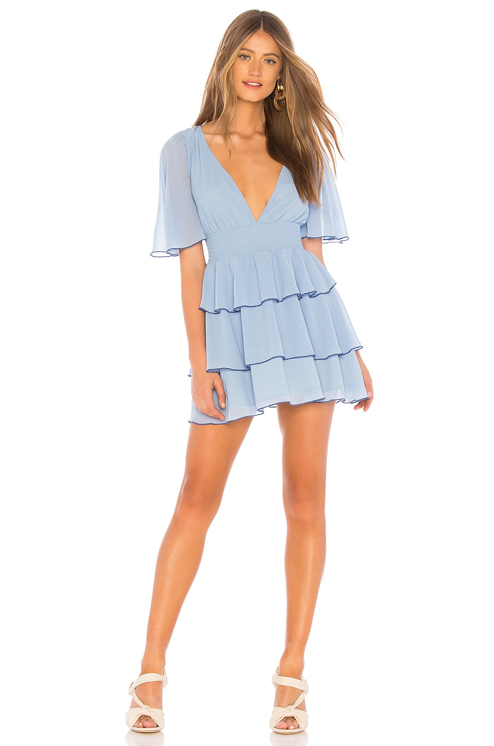 Lovers + Friends Billie Mini Dress in Powder Blue