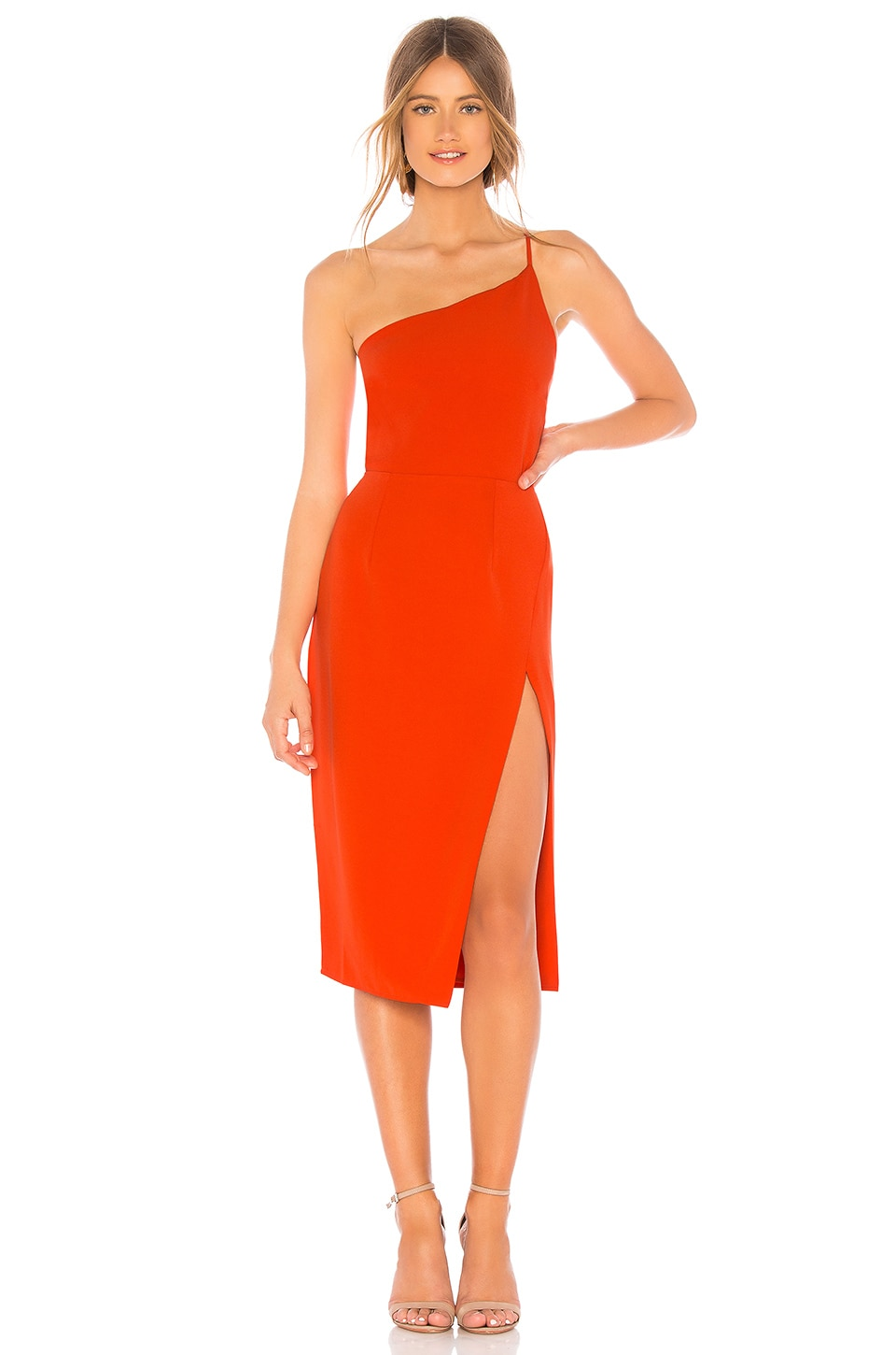 Lovers + Friends Lazo Midi Dress in Blood Orange
