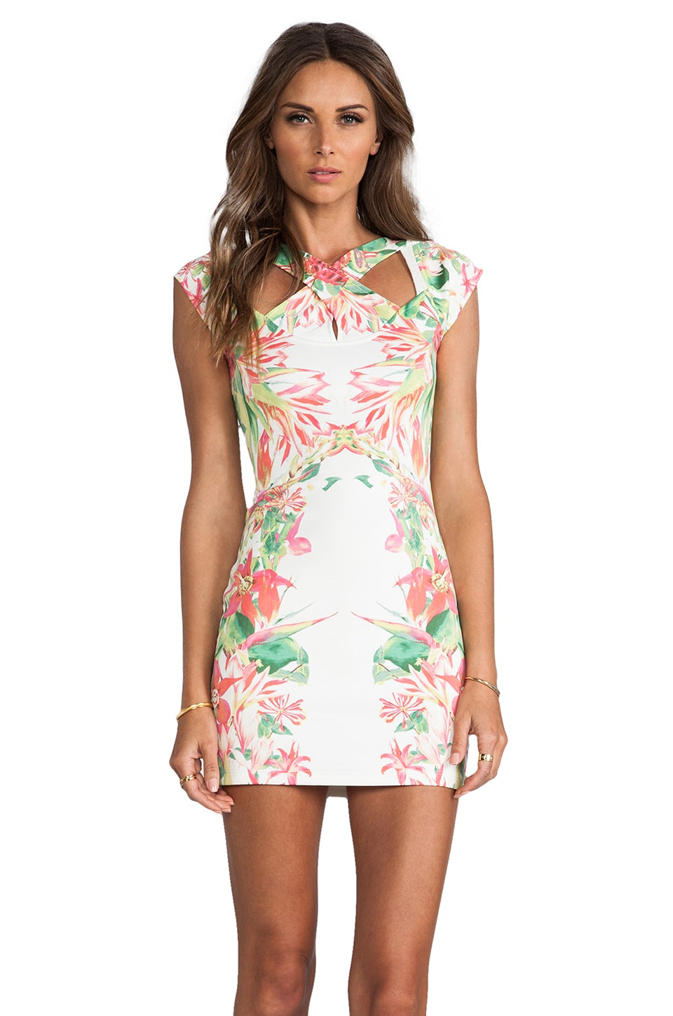 Lovers + Friends Sacred and Sleek Dress in Tropical White