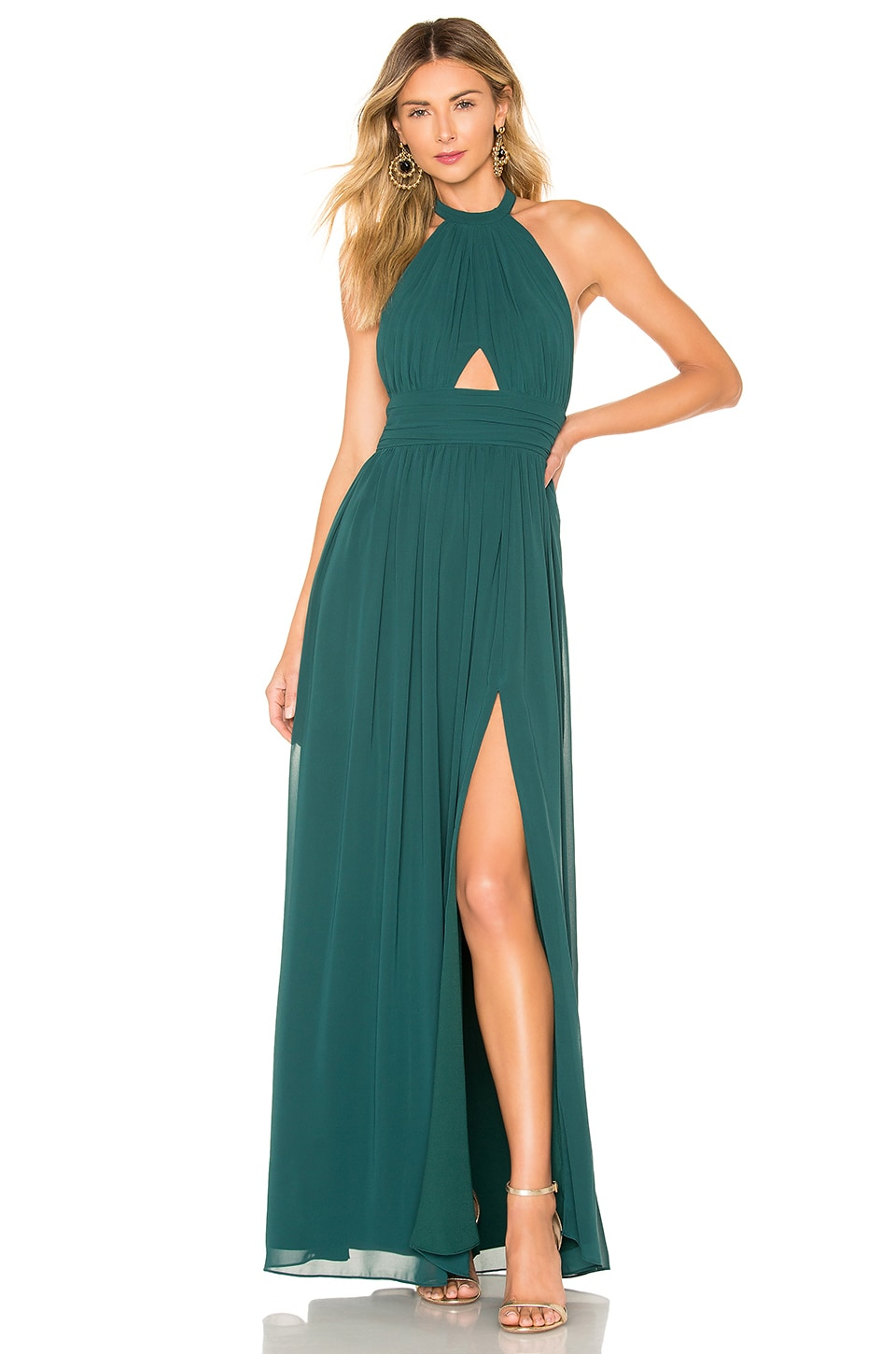 Lovers + Friends Hazel Gown in Emerald