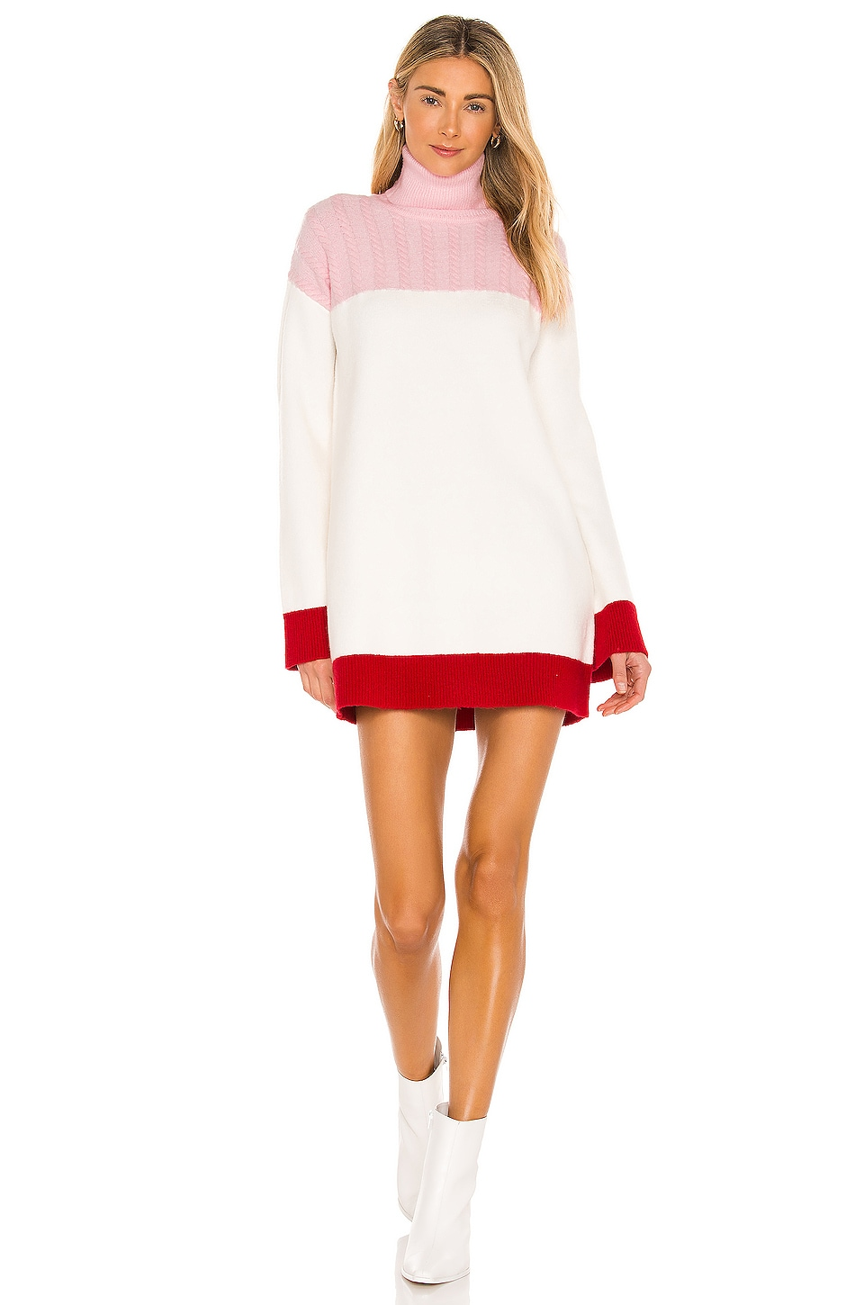 Lovers + Friends Kane Sweater Dress in Pink & Red