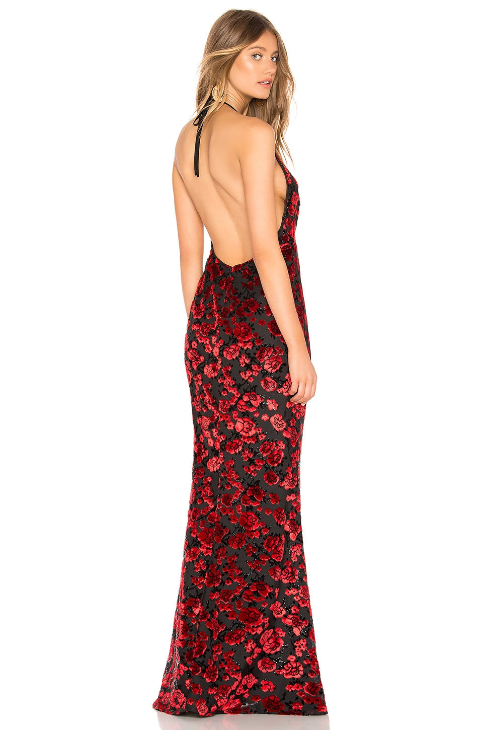 Lovers + Friends Mazzy Gown in Red & Black