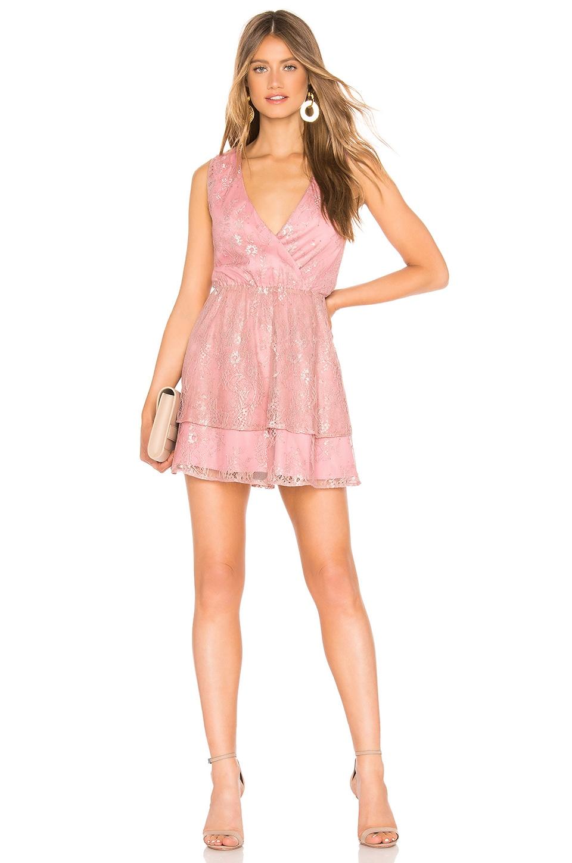 Lovers + Friends Rayna Mini Dress in Metallic Rose