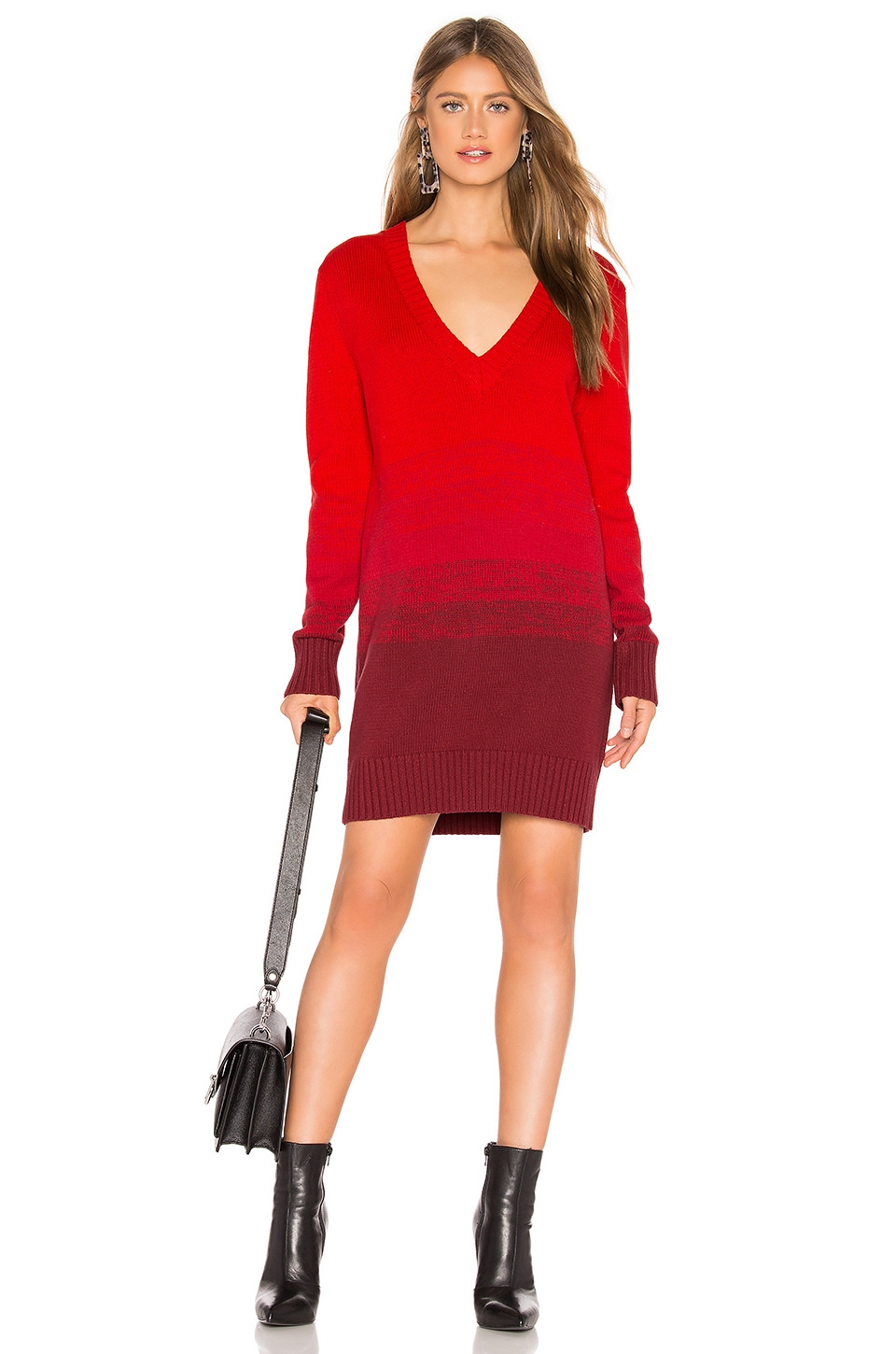Lovers + Friends Rocket Sweater Dress in Red Ombre