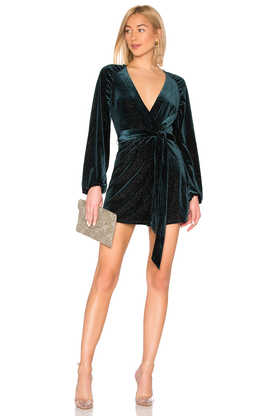 Lovers + Friends Addilyn Wrap Dress in Deep Emerald