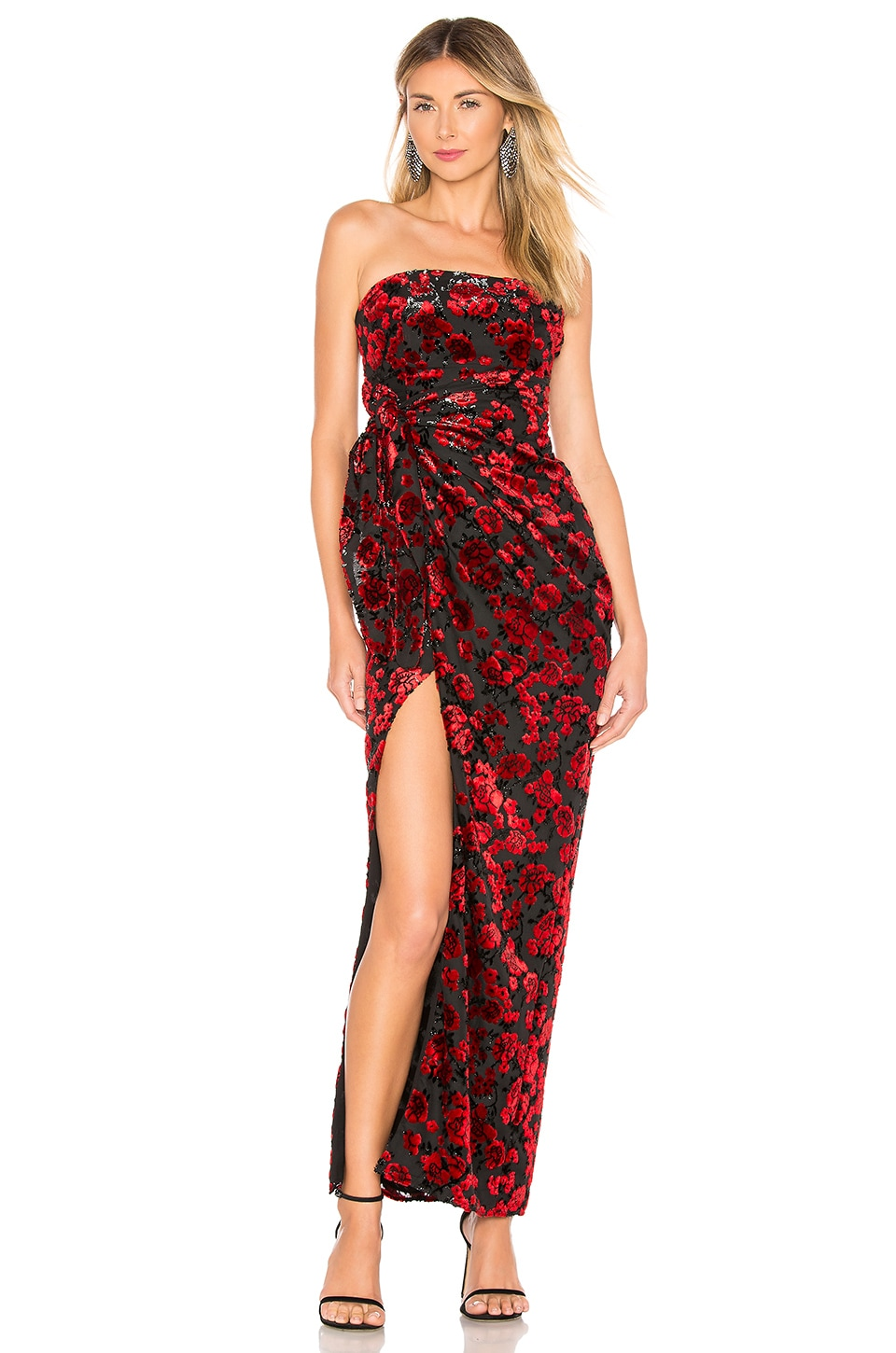 Lovers + Friends Beatriz Gown in Red & Black