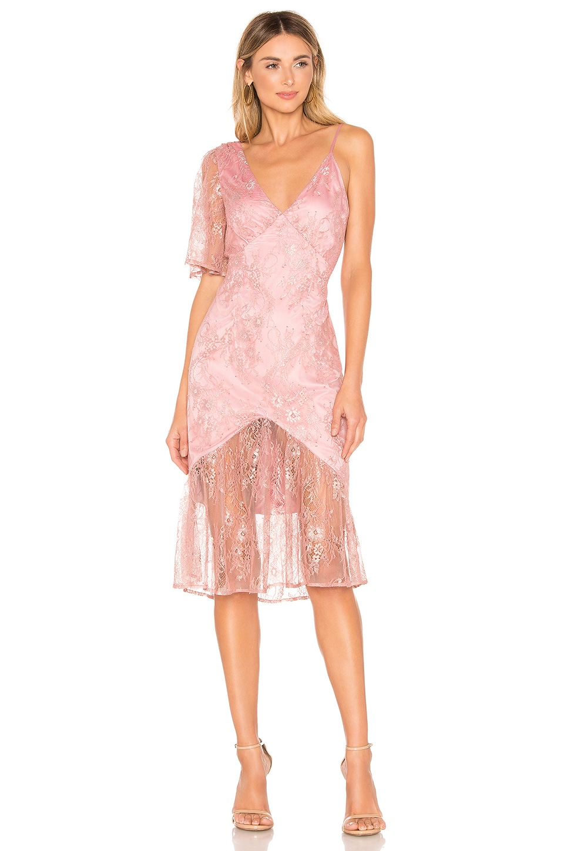 Lovers + Friends Elora Midi Dress in Metallic Rose