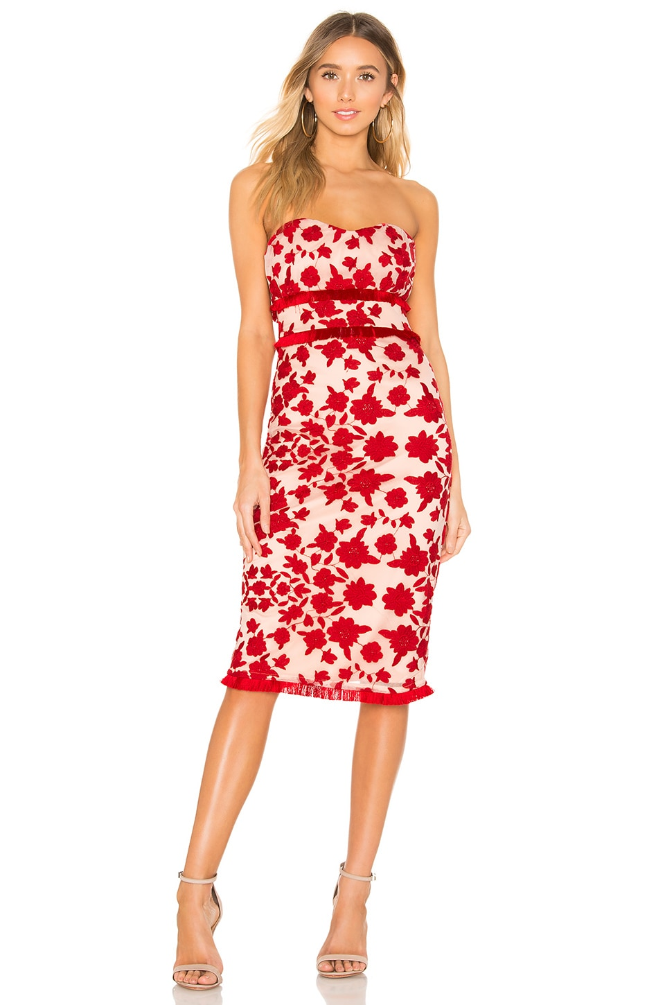 Lovers + Friends Sol Midi Dress in Red