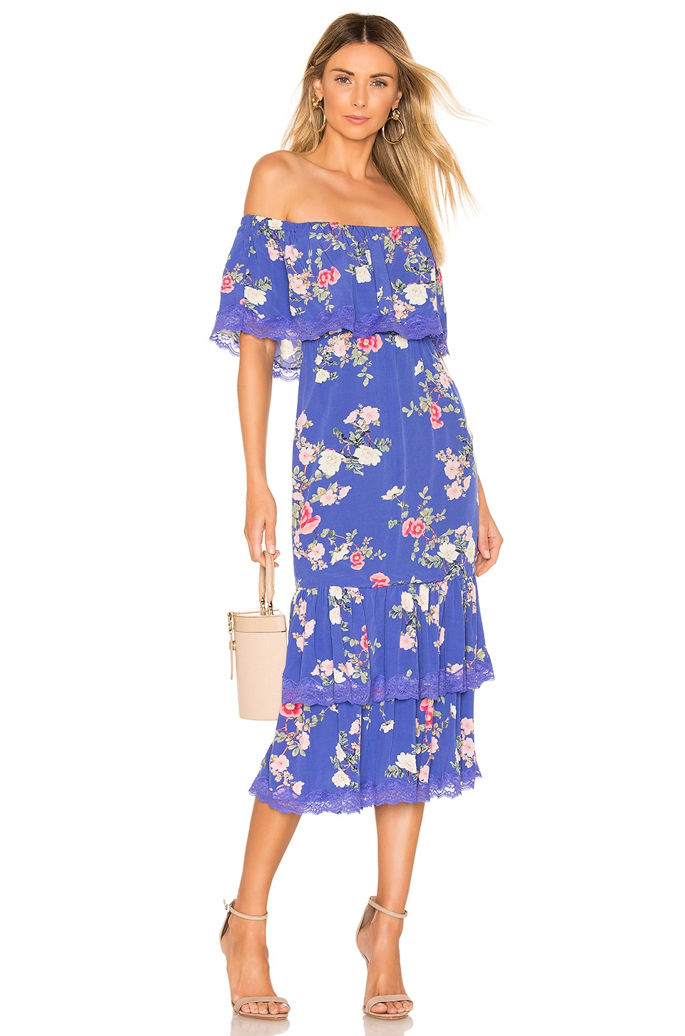 Lovers + Friends Elouise Midi Dress in Feeling Blue Floral