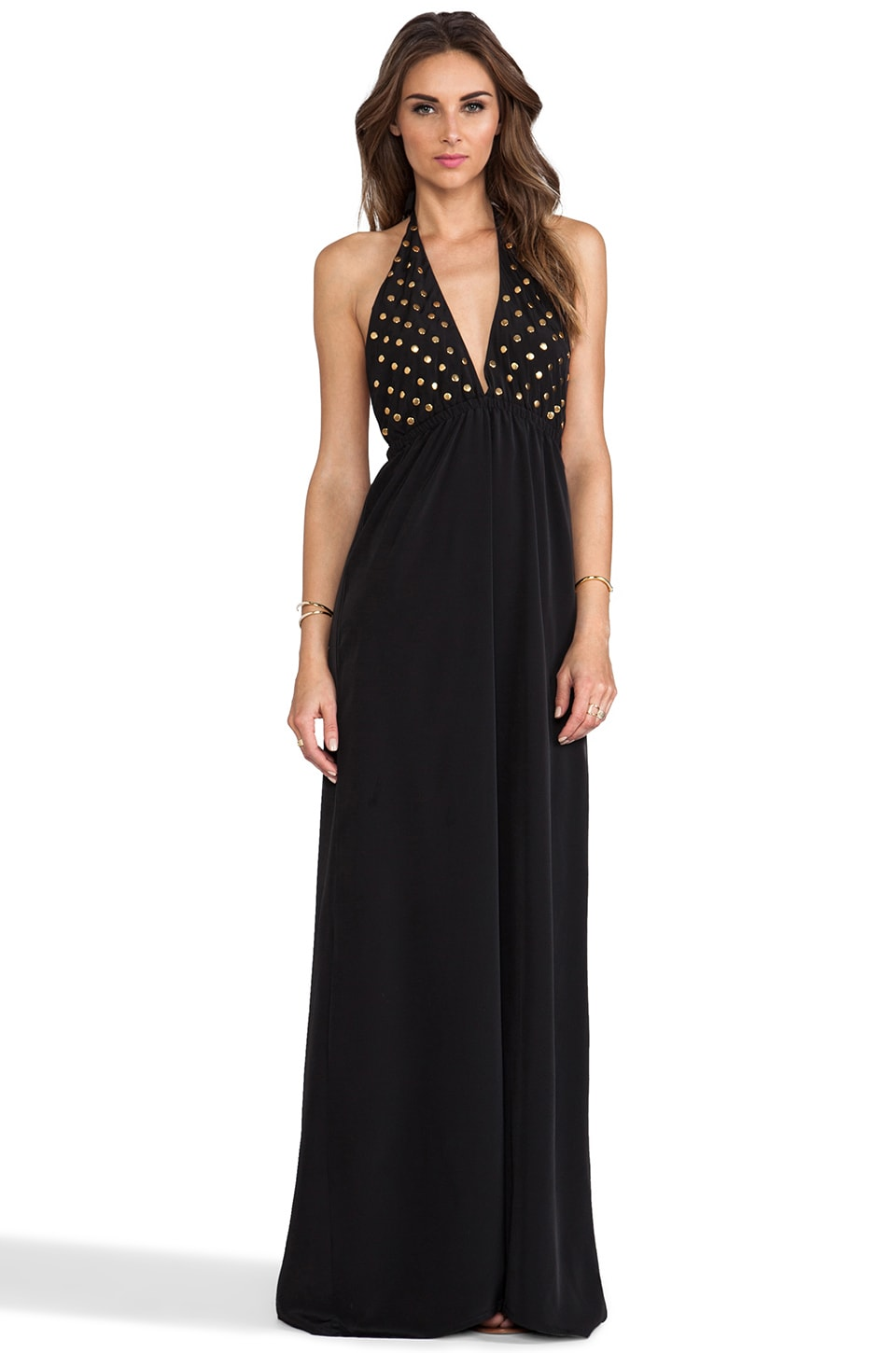 Lovers + Friends for REVOLVE Jasmine Studded Maxi Dress in Black