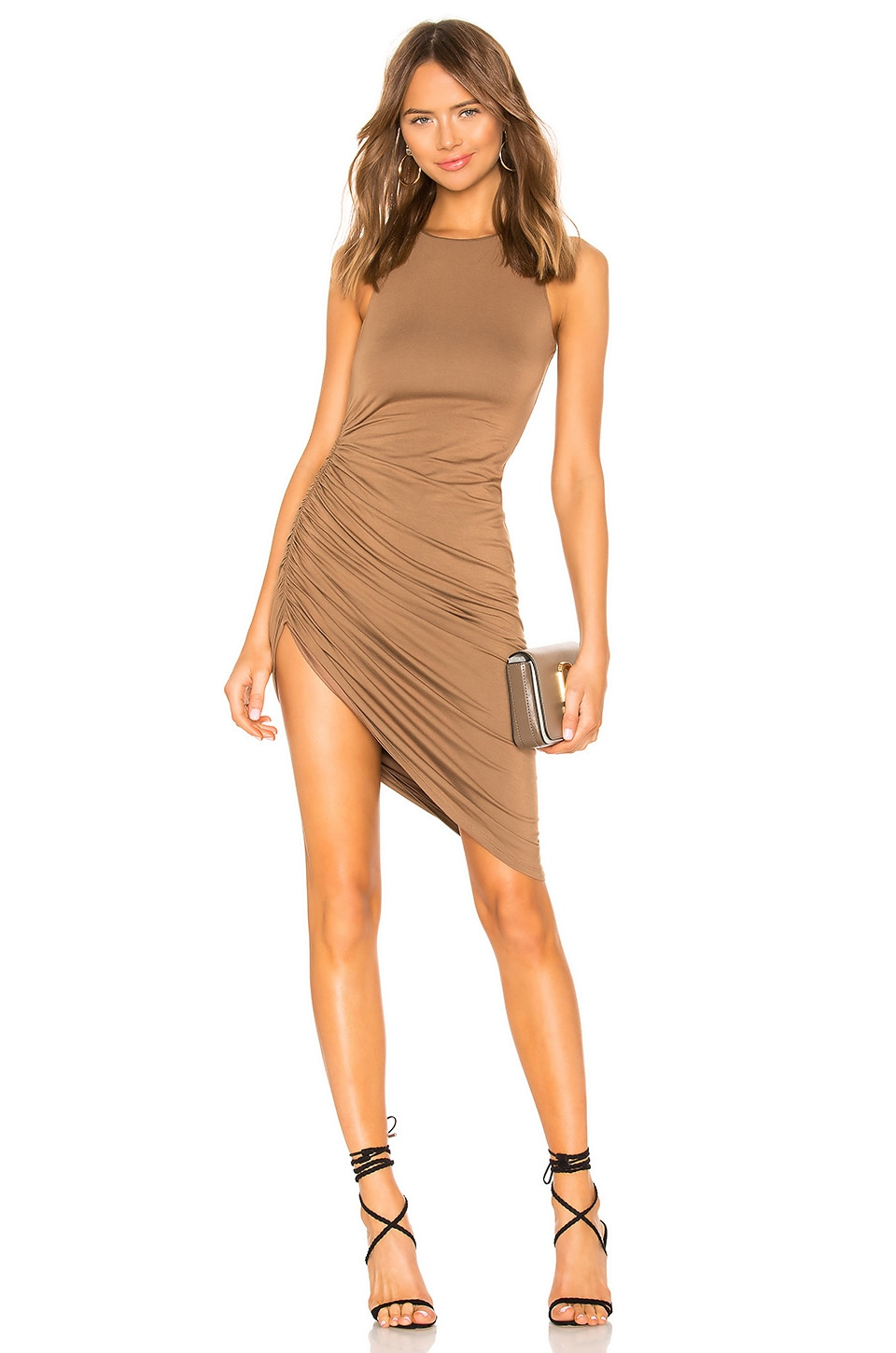 Lovers + Friends Eva Midi Dress in Deep Taupe