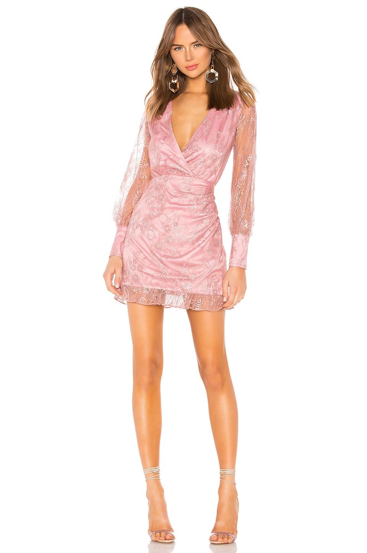 Lovers + Friends Abigail Mini Dress in Metallic Rose