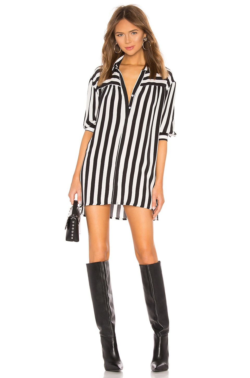 Lovers + Friends Kay Shirt Dress in Black & White