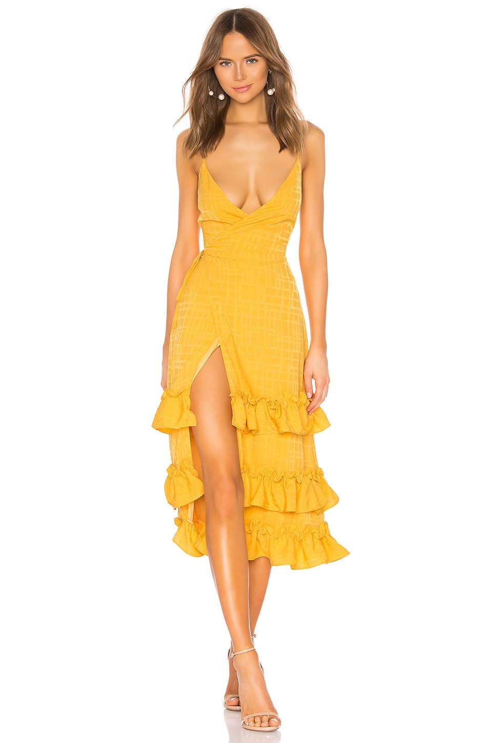 Lovers + Friends Lucie Midi Dress in Honey Yellow
