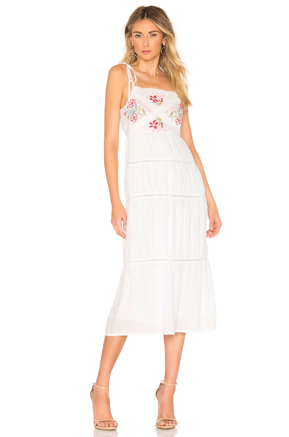 Lovers + Friends Tally Midi Dress in White