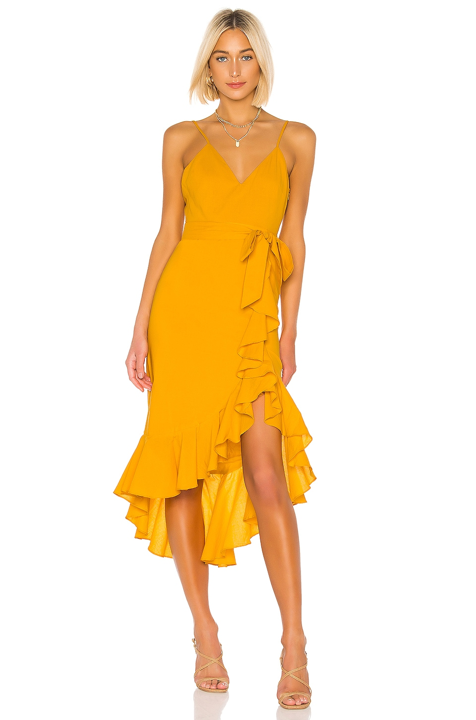 Lovers + Friends Bridget Midi Dress in Sunflower Yellow