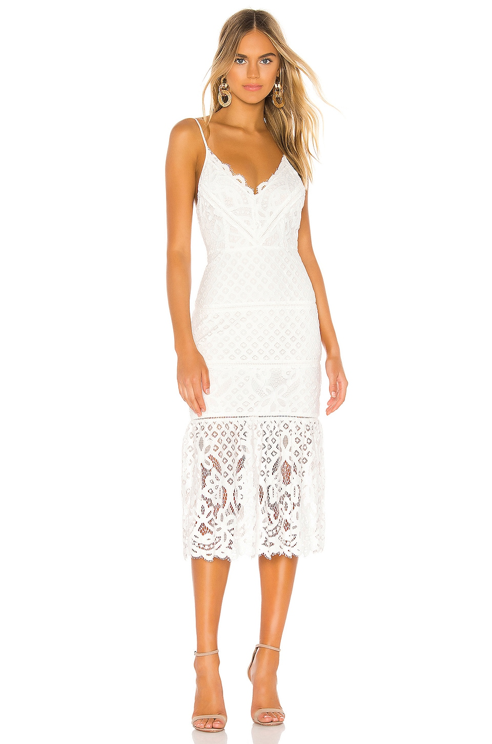 Lovers + Friends Tilly Midi Dress in White