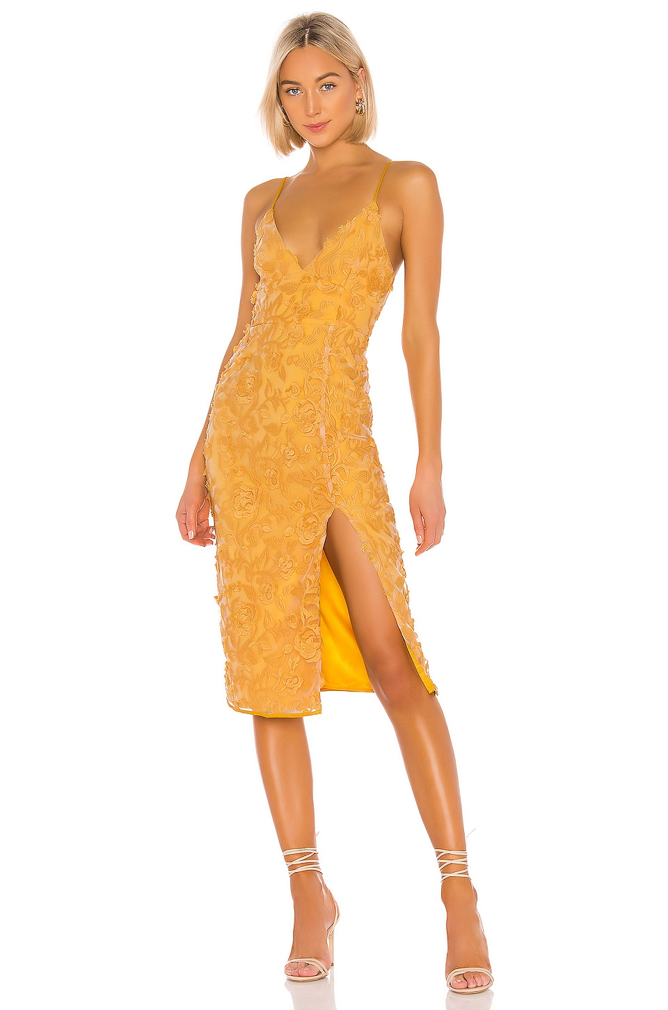 Lovers + Friends Saba Midi Dress in Goldenrod Yellow