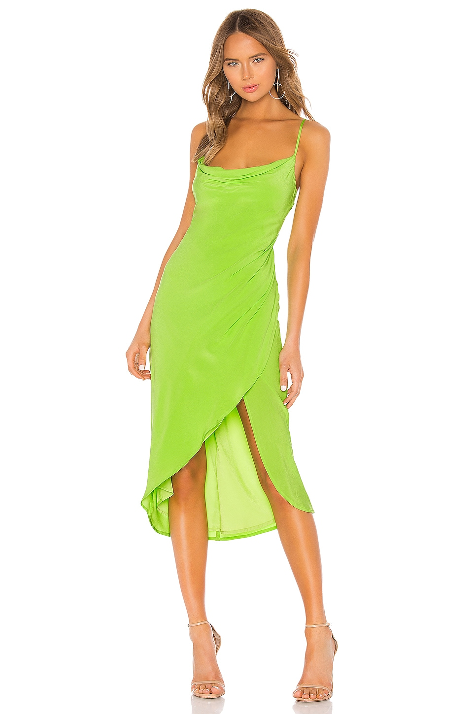 Lovers + Friends Noah Wrap Dress in Lime Green