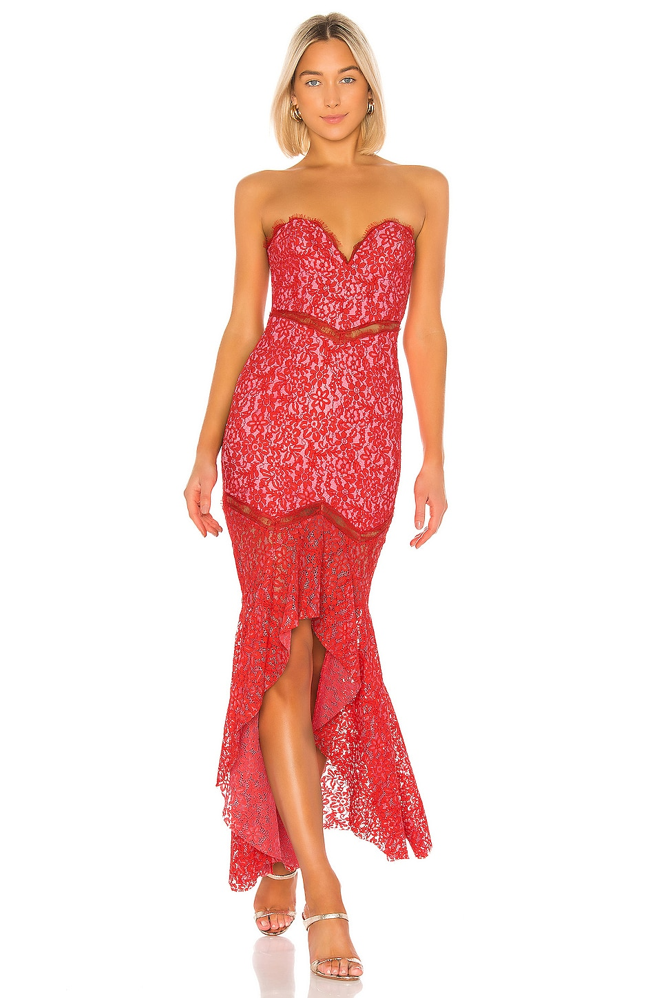 Lovers + Friends Keva Gown in Red & Pink
