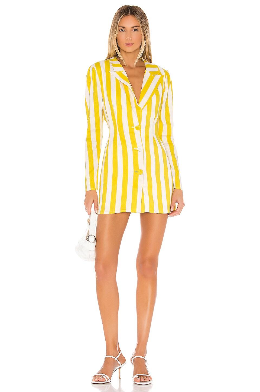 Lovers + Friends City Blazer Dress in Lemon Stripe
