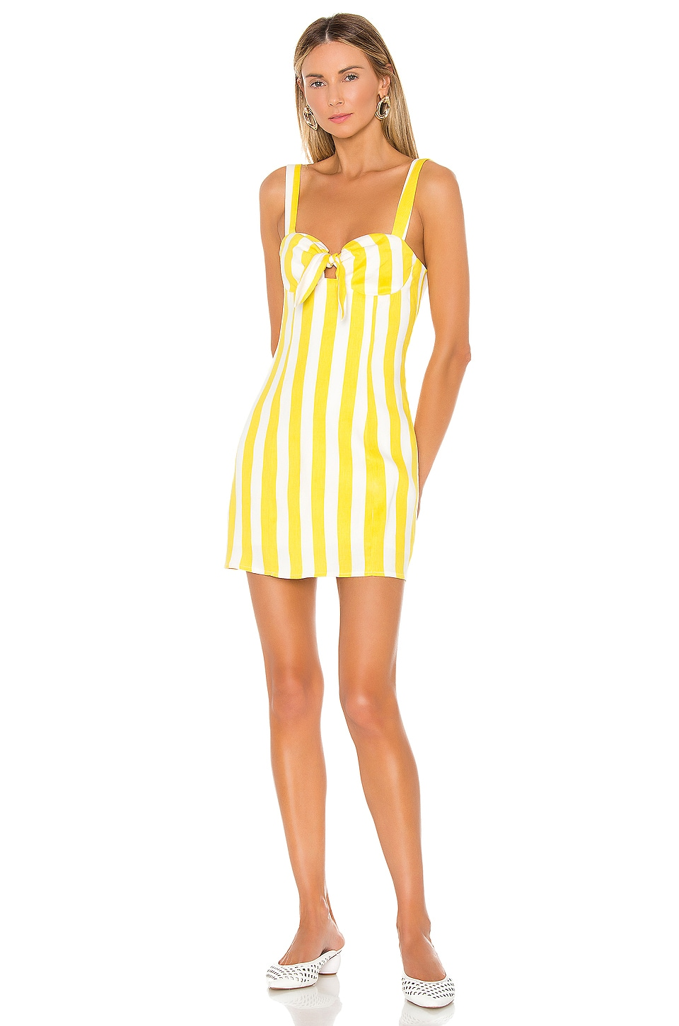 Lovers + Friends Adelle Mini Dress in Lemon Stripe
