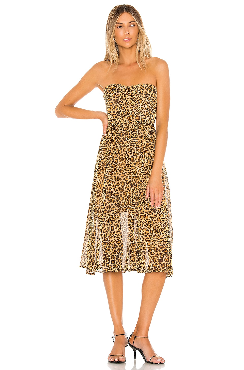 Lovers + Friends Marcus Midi Dress in Cheetah Print