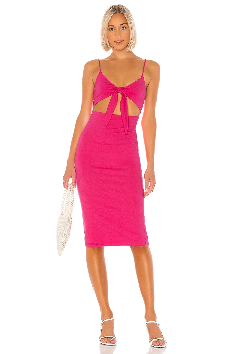 Lovers + Friends Elise Midi Dress in Candy Pink