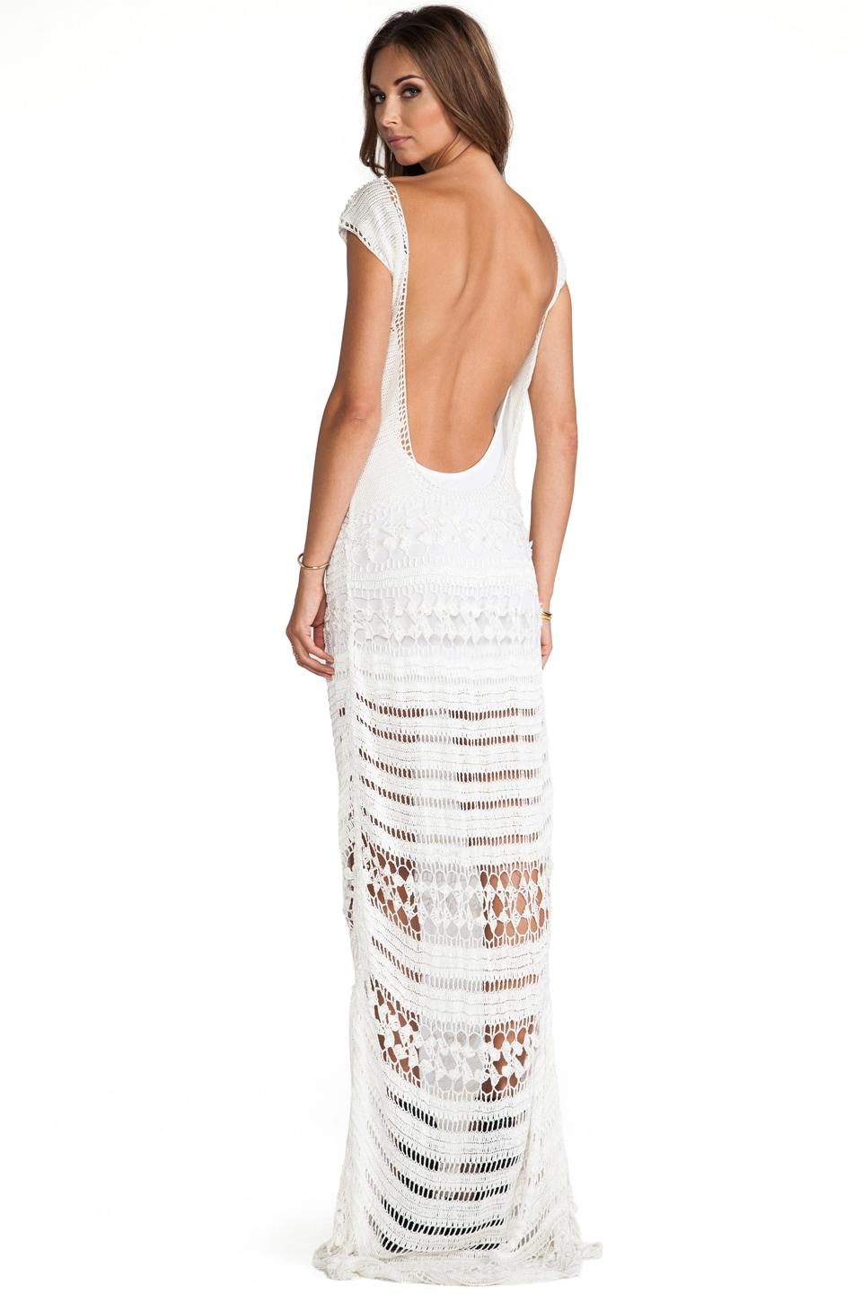 Lovers + Friends Farah Crochet Maxi Dress in White