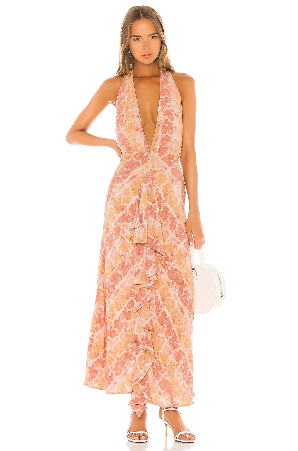Lovers + Friends Zeta Maxi Dress in Snake Skin