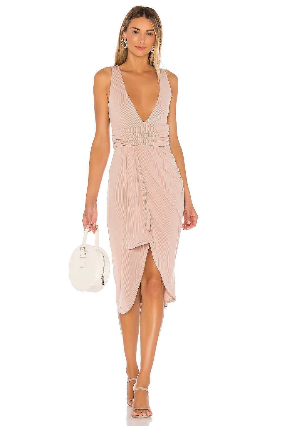 Lovers + Friends Aryana Midi Dress in Nude Stripe